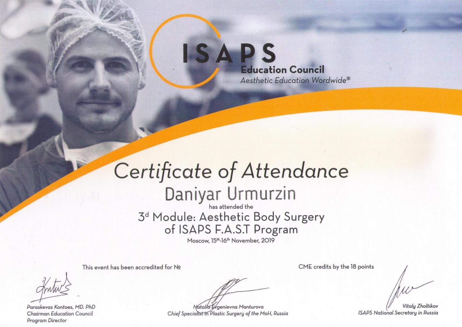 ISAPS. 3-d module: Aesthetic Body Surgery. 2019