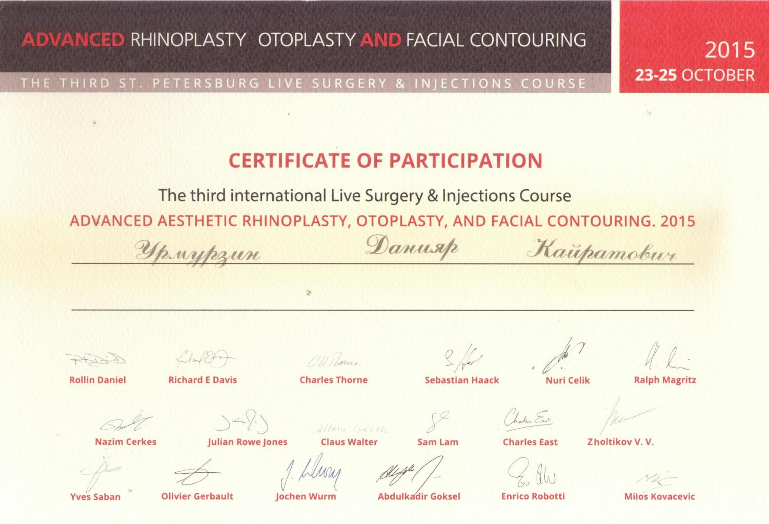 Advanced aesthetic rhinoplasty, otoplasty, and facial contouring. St.Petersburg, 2015.