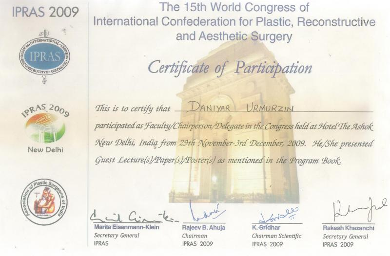 15th World Congress of International Confederation for Plastic, Reconstruction and Aesthetic Surgery. New-Delhi, 2009.
