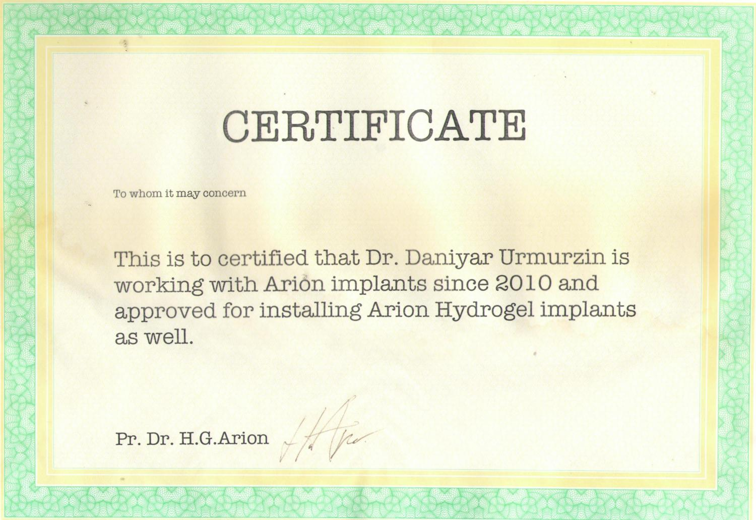 Arion Hydrogel Implants. 2010