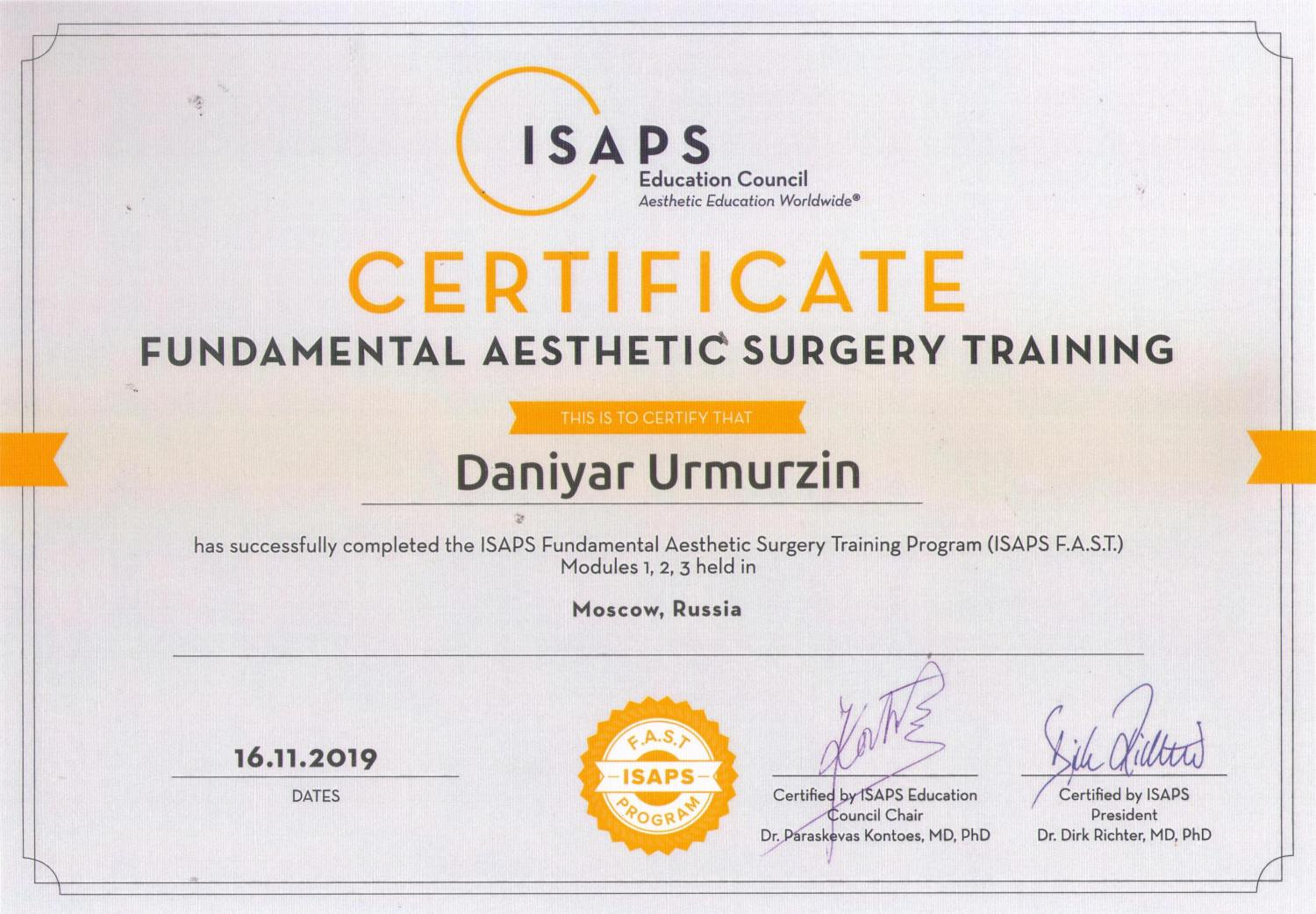 ISAPS. Fundamental Aesthetic Surgery Training. Moscow, 2019.