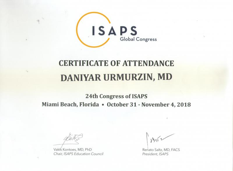 24-th Congress of ISAPS. Florida, 2018.